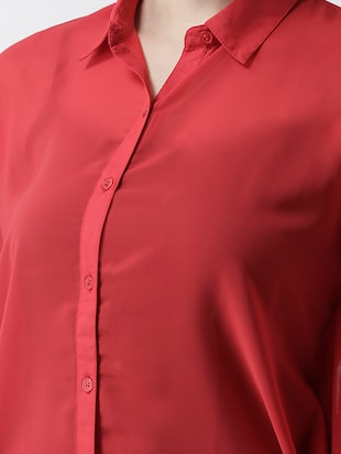 solid red georgette shirt - 15026141 - Standard Image - 4