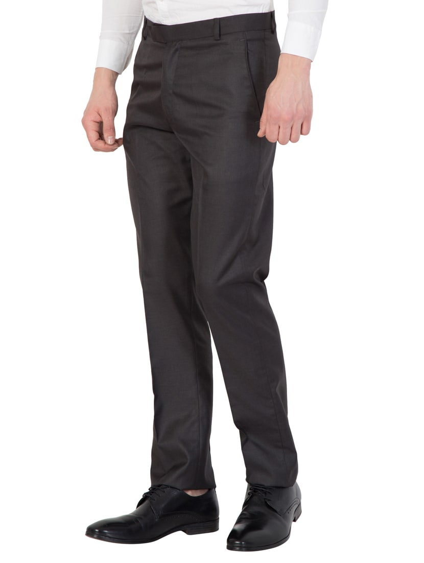 Buy Black Cotton Flat Front Formal Trouser For Men From American Elm