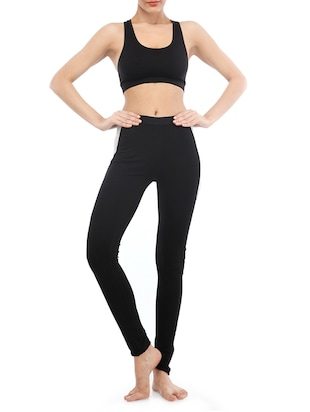 black solid cotton leggings - 15027002 - Standard Image - 4