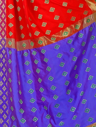 red silk blend woven saree with blouse - 15027501 - Standard Image - 4