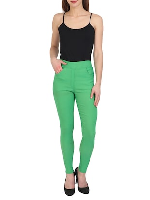 green cotton lycra jeggings - 15027531 - Standard Image - 4