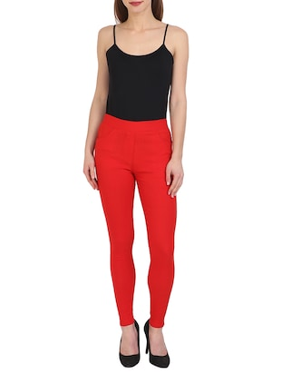 red cotton lycra jeggings - 15027538 - Standard Image - 4