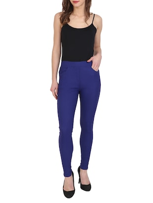 blue cotton lycra jeggings - 15027542 - Standard Image - 4