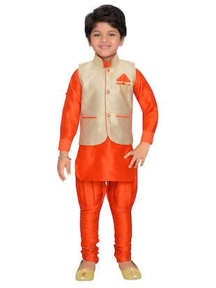 orange silk blend kurta pyjama set with nehru jacket - 15028270 - Standard Image - 4