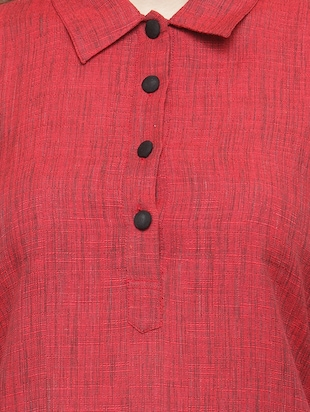 Rose red solid kurta - 15029896 - Standard Image - 4