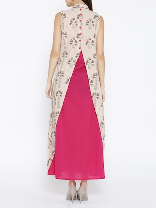 pink cotton maxi dress with shrug - 15030236 - Standard Image - 4