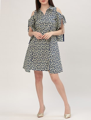 blue printed cotton a-line dress - 15030280 - Standard Image - 4