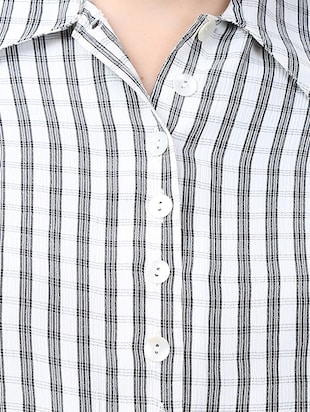 white viscose checkered shirt - 15030810 - Standard Image - 4