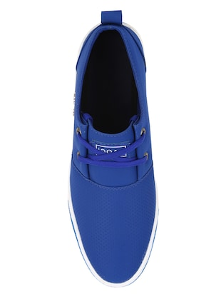 blue leatherette lace up sneaker - 15030839 - Standard Image - 4