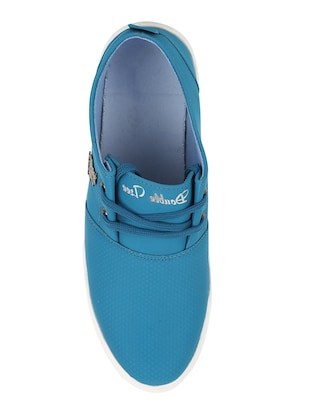 light blue leatherette lace up sneaker - 15030842 - Standard Image - 4
