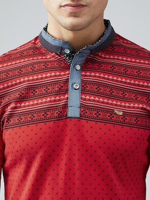 red cotton all over print t-shirt - 15030913 - Standard Image - 4