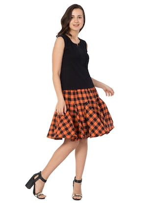 orange checkered cotton flared skirt - 15033458 - Standard Image - 4