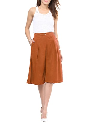 solid brown crepe culottes - 15033739 - Standard Image - 4