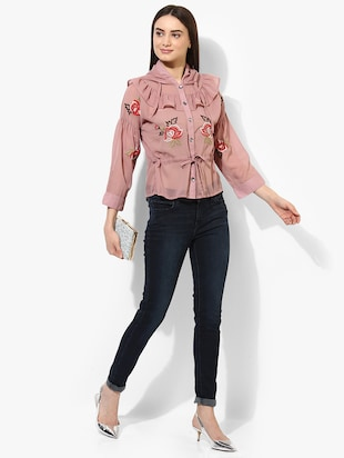 pink cotton embroidered shirt - 15036107 - Standard Image - 4