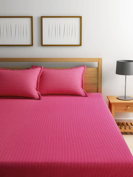 Buy Self Striped Double Bed Elastic Fitted Bedsheet With 2 Pillow