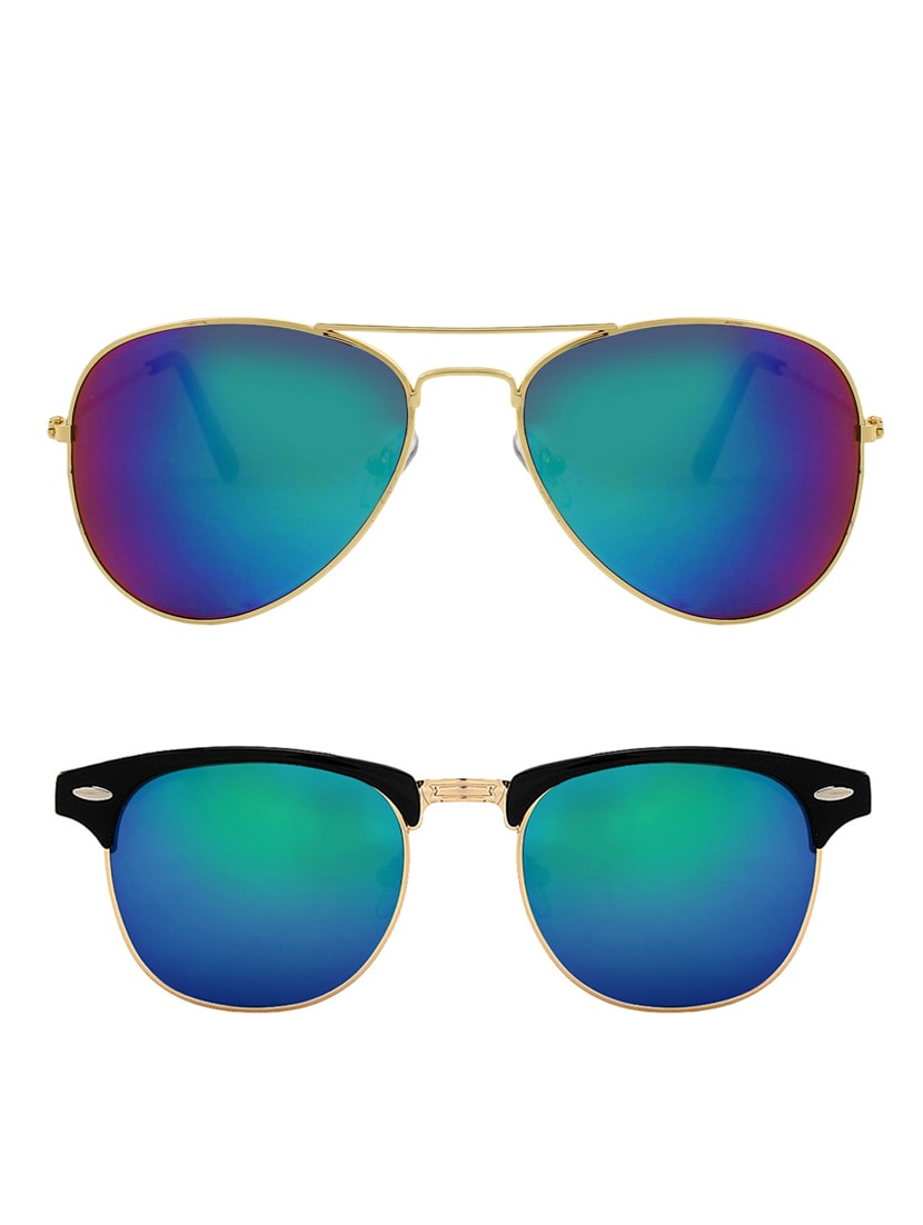 997a5be21aed Buy Zyaden Combo Of Two Sunglasses Aviator   Clubmaster-combo-2148 for Men  from Zyaden for ₹595 at 61% off