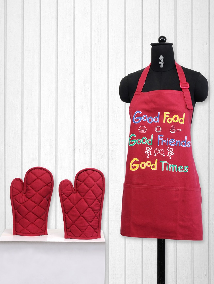 Buy Printed Cotton Kitchen Set Of 3 By Swayam Online Shopping For