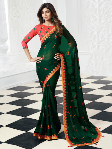green chiffon printed saree with blouse - 15044943 - Standard Image - 1