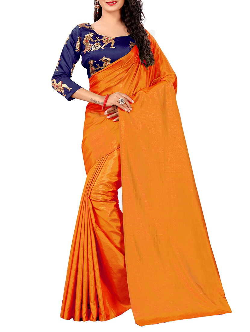 51bc39dba088a6 Buy Orange Silk Blend Plain Saree With Blouse for Women from Blissta for  ₹985 at 42% off