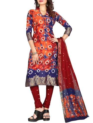 multi colored bandhani unstitched churidaar suit - 15047351 - Standard Image - 1