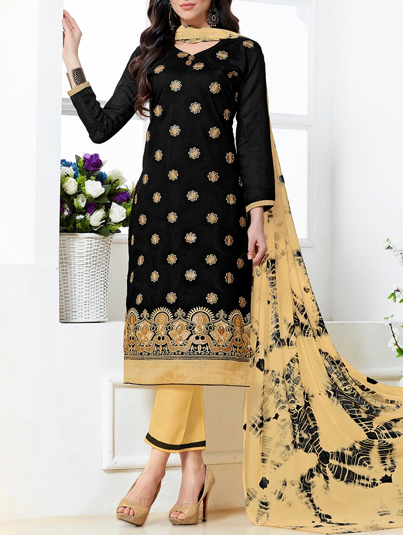 0b965c072c8 Buy Embroidered Semi-stitched Straight Pant Suit by Manvaa - Online shopping  for Semi-stitched Suits in India