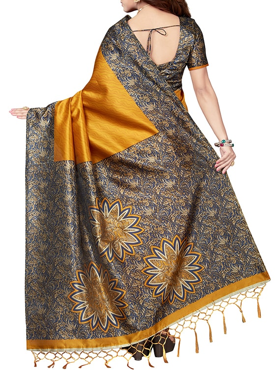 305d9e018ec Buy Mustard Art Silk Printed Saree With Blouse for Women from Ishin for  ₹601 at 54% off