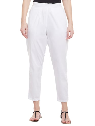 white solid cotton peg trouser - 15054072 - Standard Image - 1