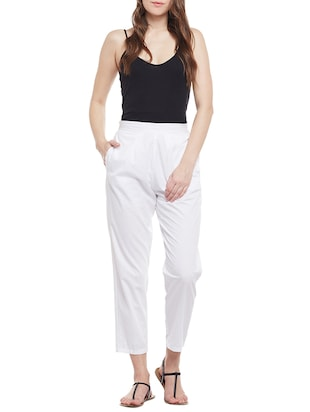 white solid cotton peg trouser - 15054072 - Standard Image - 4