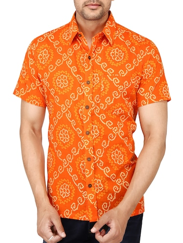 orange cotton casual shirt - 15056078 - Standard Image - 1