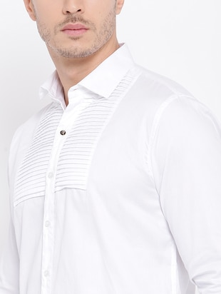 white cotton casual shirt - 15057547 - Standard Image - 4