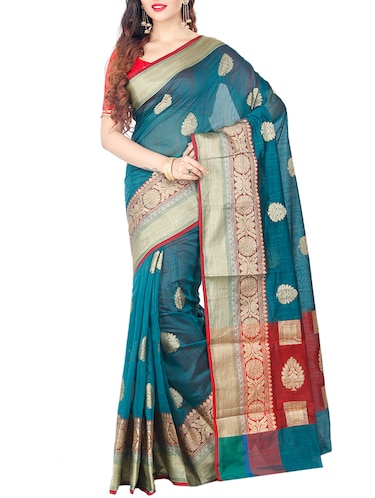 turquoise cotton silk woven saree with blouse - 15061831 - Standard Image - 1