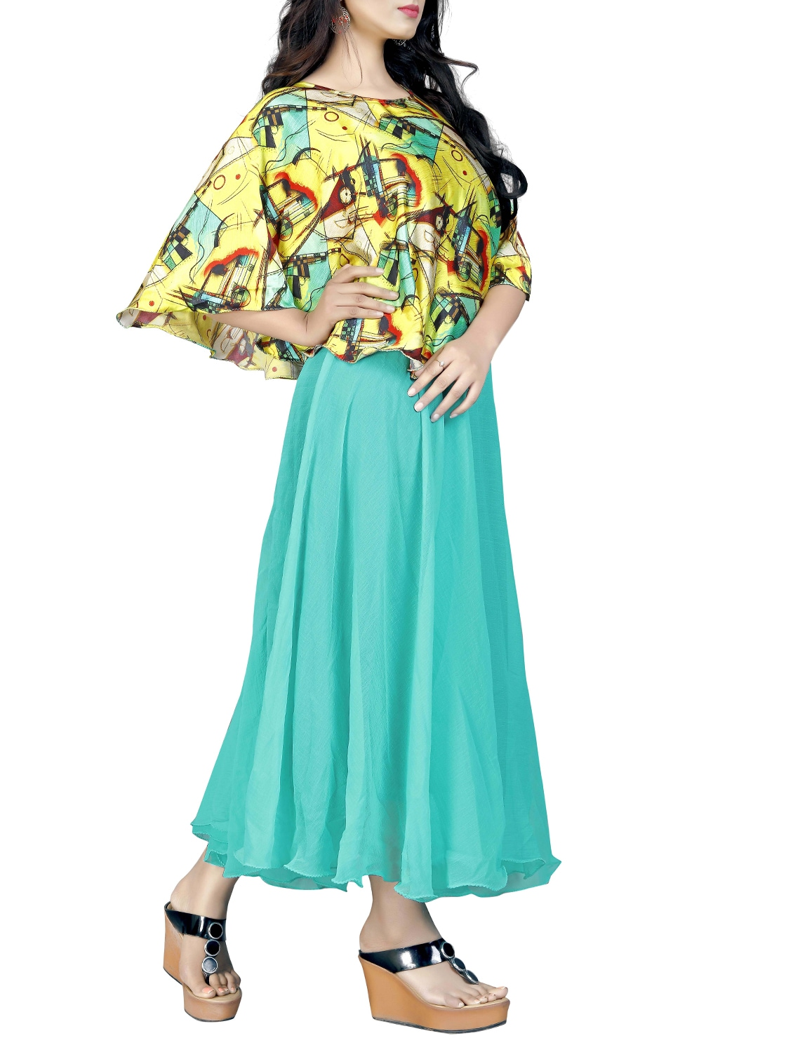 6bc10aa0f9 Buy Yellow Printed Layered Maxi Dress for Women from Hsfs for ₹975 at 35%  off