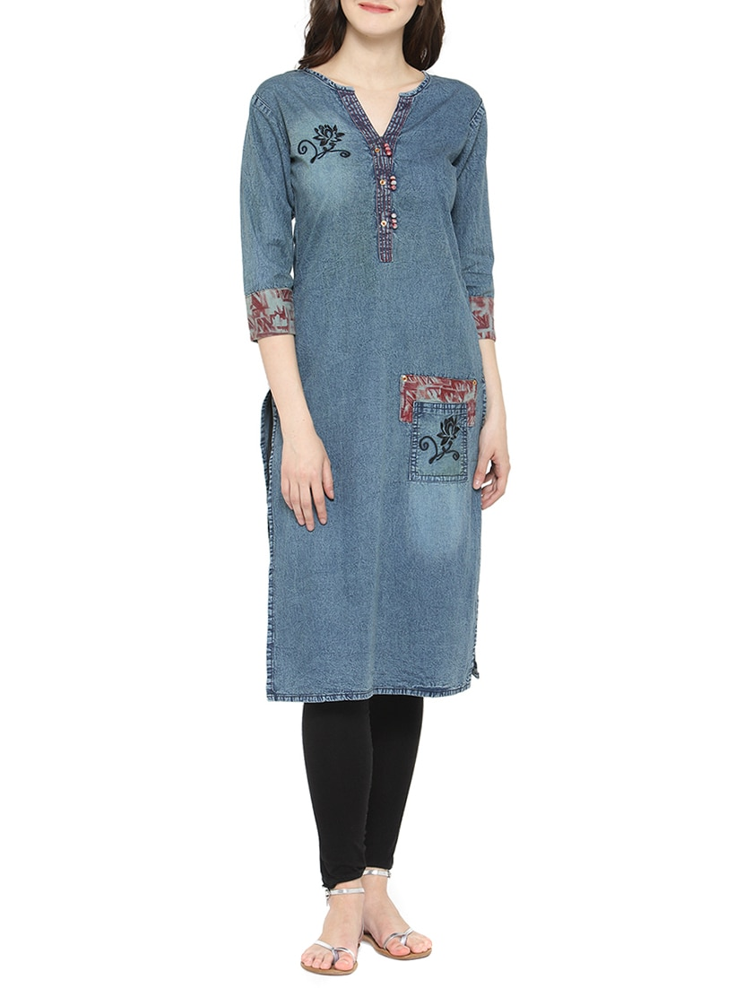 bb236fdecab Buy Blue Denim Straight Kurta for Women from Kvsfab for ₹1367 at 54% off