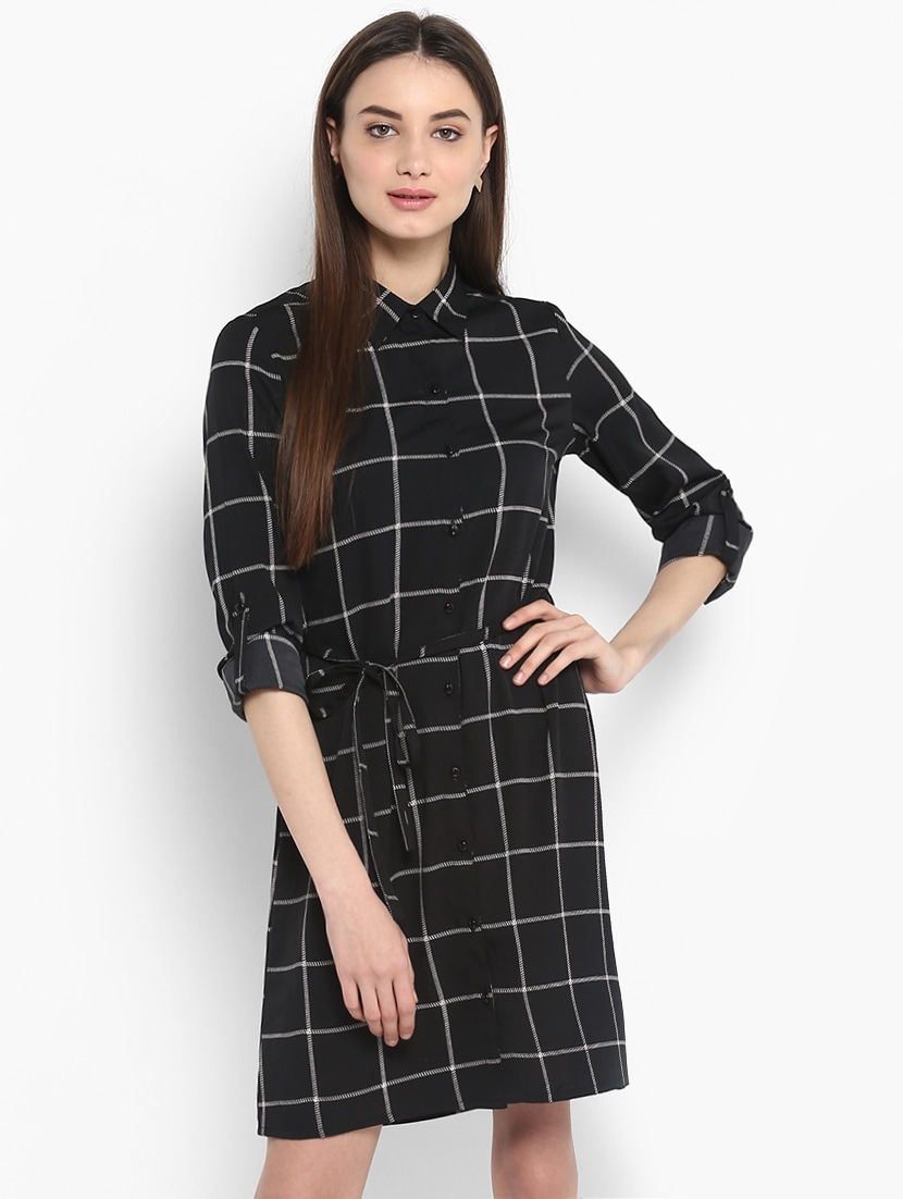 49be61725 Buy Black Checkered Shirt Dress for Women from Stylestone for ₹810 at 46%  off