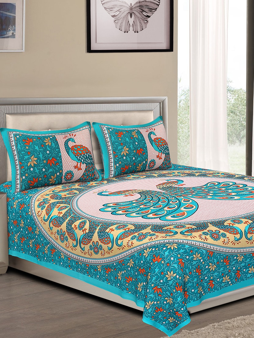 Buy Cotton Jaipuri Traditional Double Bedsheet With 2 Pillow Covers By  Uniqchoice   Online Shopping For Bed Sheet Sets In India | 15067339