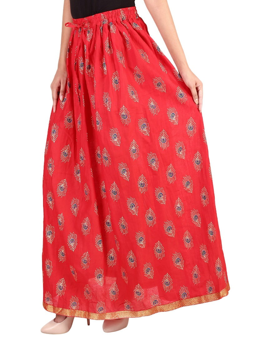 a4ceaf92cb2 Buy Red Cotton Flared Skirt by Rangsthali - Online shopping for Skirts in  India