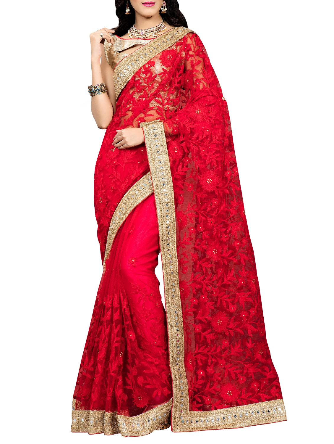 Buy Red Net Embroidered Saree With Blouse By Fashion2wear Online