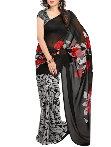 black georgette printed saree with blouse - 15068191 - Standard Image - 1