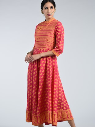 Kargha geometric and floral printed Anarkali kurta -  online shopping for kurtas