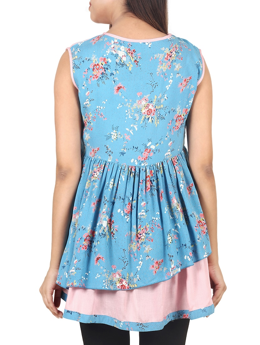 38875302d7bfd Buy Blue Printed Rayon A-line Maternity Wear Top for Women from 9teenagain  for ₹1099 at 63% off | 2019 Limeroad.com