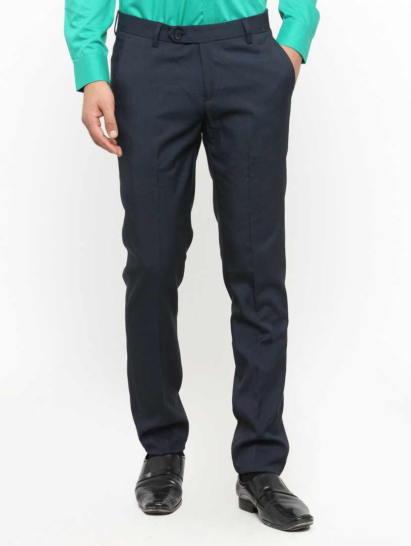Buy Navy Blue Cotton Blend Flat Front Formal Trouser For Men From