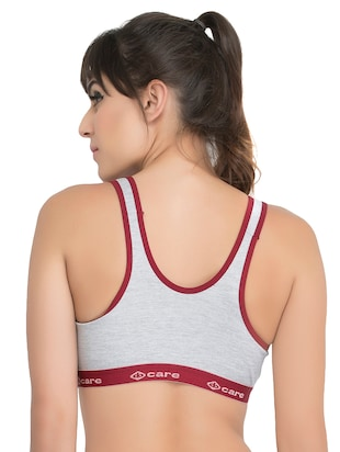 set of 3 grey solid hosery sports bra - 15082349 - Standard Image - 7