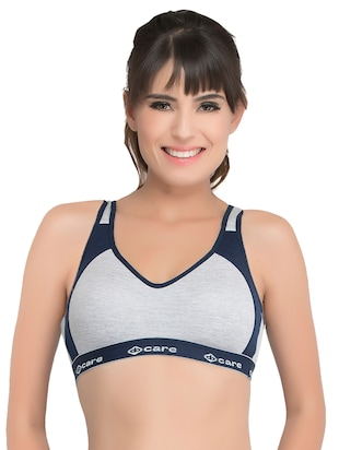 set of 3 grey solid hosery sports bra - 15082365 - Standard Image - 4