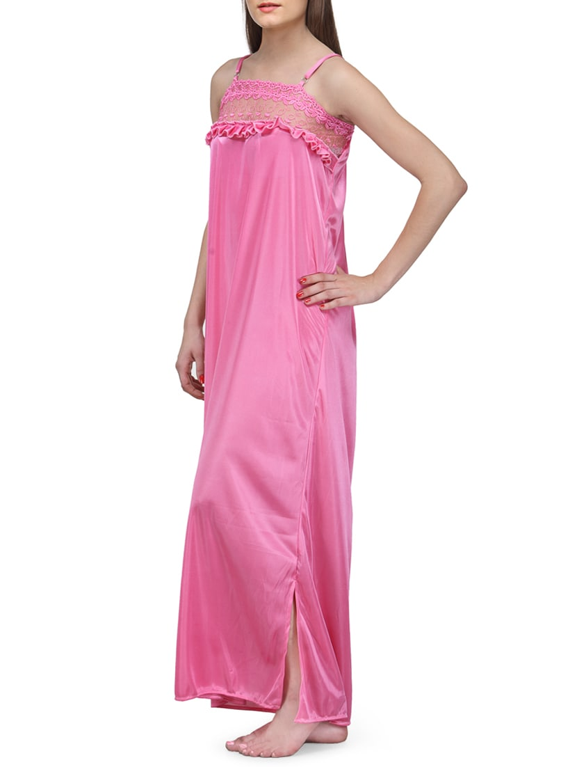 d96171a529 Buy Pink Solid Satin Nighty by Fashigo - Online shopping for Sleepshirts    Nighties in India