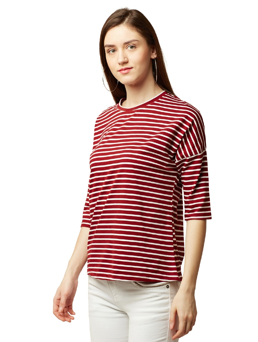c5370b4f5de2 Buy Drop Shoulder Striped Tee for Women from Miss Chase for ₹559 at 34% off