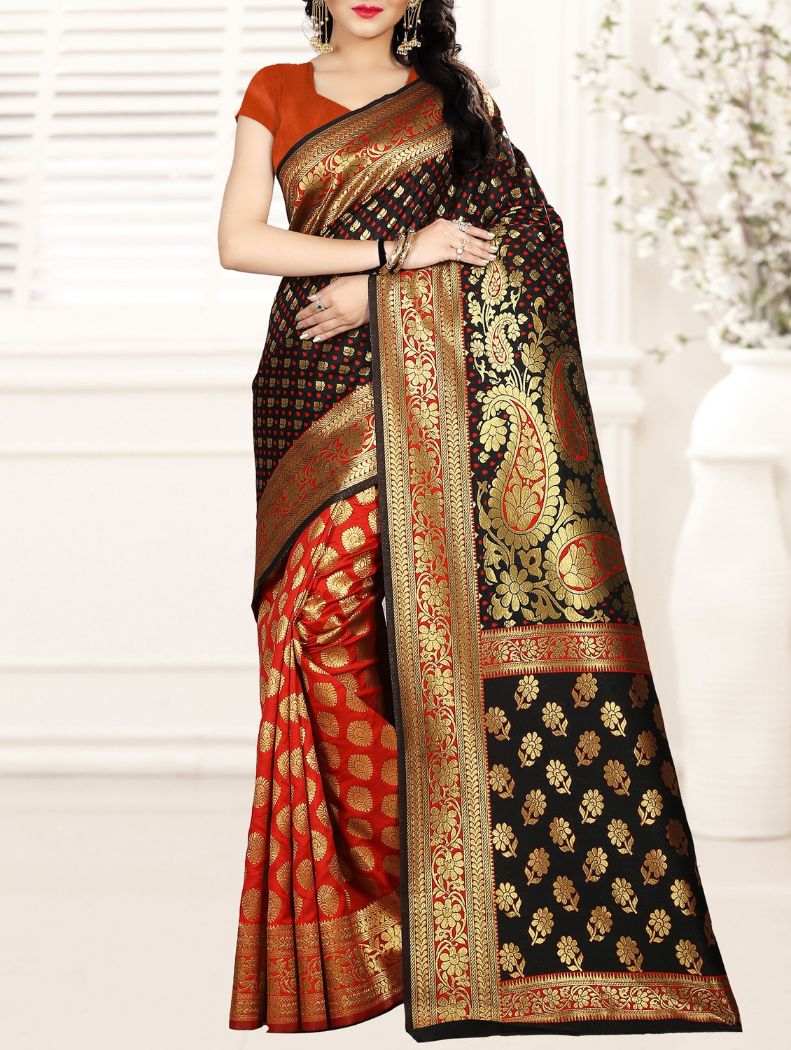 3d3efba5e013f Buy Half   Half Zari Banarasi Saree With Blouse for Women from Manvaa for  ₹2516 at 46% off