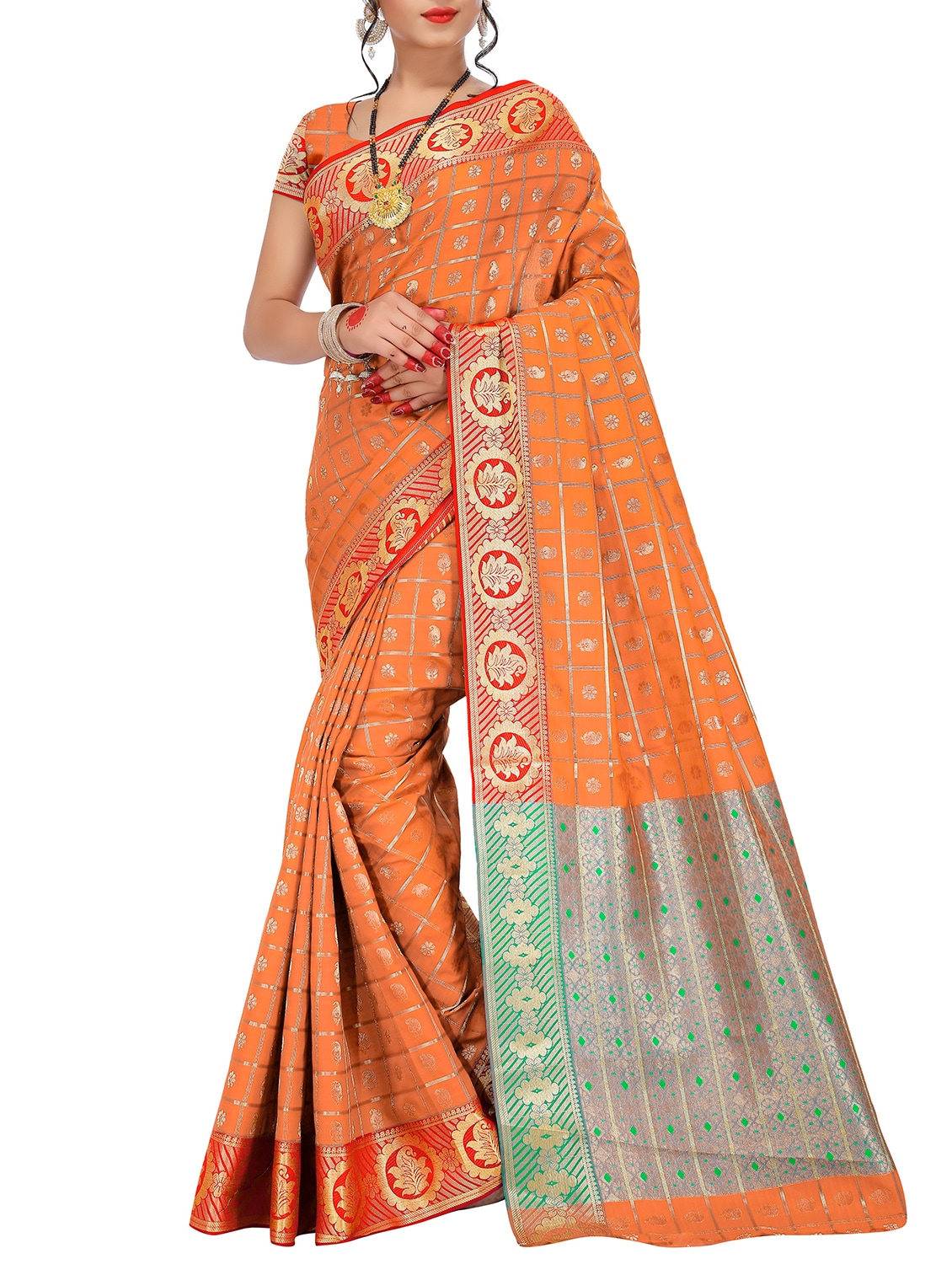 8a0924ad9cf4b Buy Orange Banarasi Silk Saree With Blouse for Women from Justfashion for  ₹1304 at 44% off