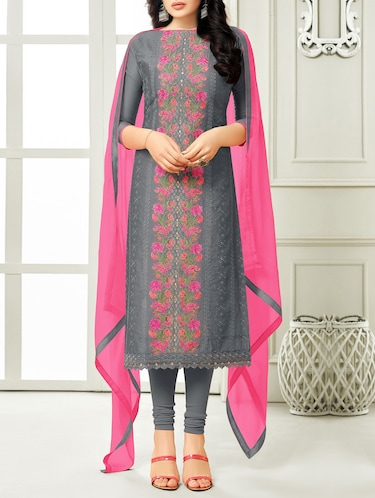 Grey cotton unstitched churidaar suit - 15086591 - Standard Image - 1