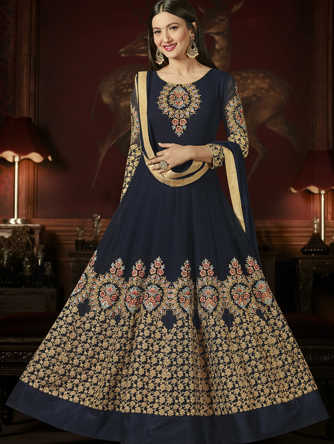 239223ba2b Buy Blue Georgette Embroidered Semi-stitched Anarkali Suit by Vasu Saree -  Online shopping for Semi-stitched Suits in India