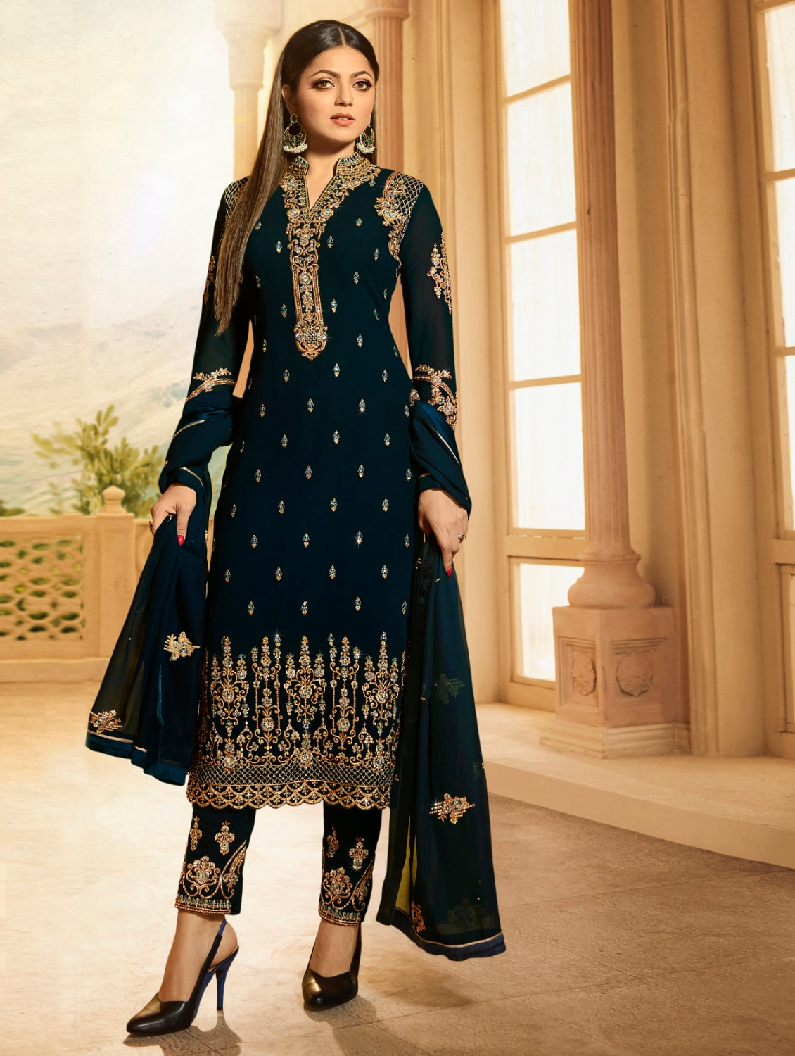 d95d78ec3f9 Buy Blue Georgette Semi-stitched Straight Pant Suit by The Fashion Attire - Online  shopping for Semi-stitched Suits in India